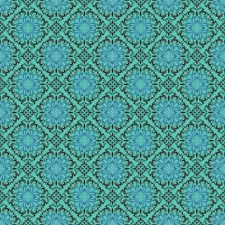 6305 - Damask Bicolor Tiffany e Preto - 0.5m